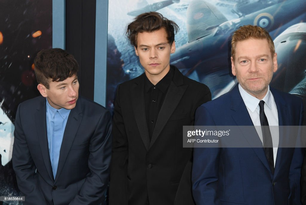 Barry Keoghan, Harry Styles and Kenneth Branagh attend the Warner Bros. Pictures 'DUNKIRK' US premiere at AMC Loews Lincoln Square on July 18, 2017 in New York City. /