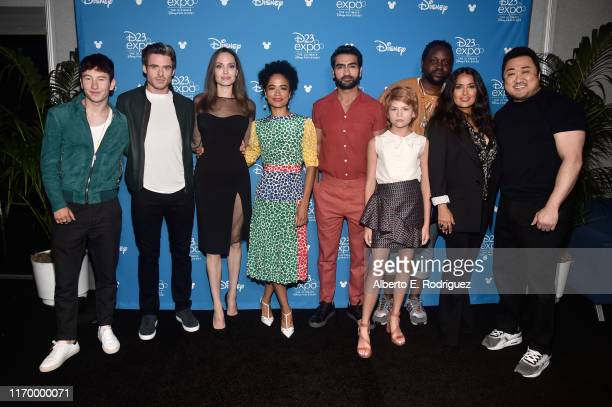 Barry Keoghan Richard Madden Angelina Jolie Lauren Ridloff Kumail Nanjiani Lia McHugh Brian Tyree Henry Salma Hayek and Don Lee of 'The Eternals'...