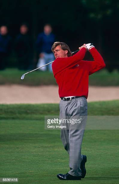 Barry Lane of England in action during the 1999 Ryder Cup Johnnie Walker held at The Belfry Golf Club in Sutton Coldfield England