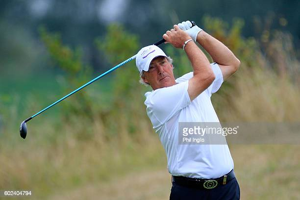 Barry Lane of England in action during the final round of the Paris Legends Championship played on L'Albatros Course at Le Golf National on September...