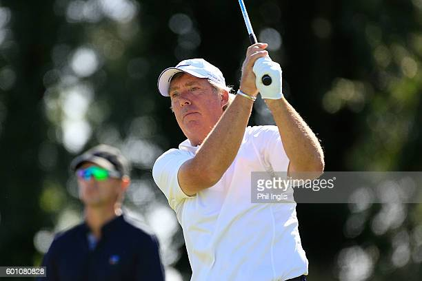 Barry Lane of England in action during the first round of the Paris Legends Championship played on L'Albatros course at Le Golf National on September...