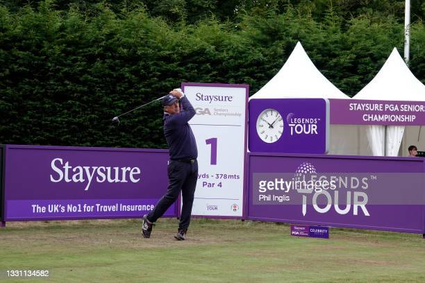 Barry Lane of England in action during the ProAm ahead of the Staysure PGA Seniors Championship at Formby Golf Club on July 28, 2021 in Formby,...