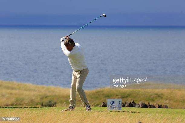 Barry Lane of England in action during the second round of the Scottish Senior Open at The Renaissance Club on August 5 2017 in North Berwick Scotland