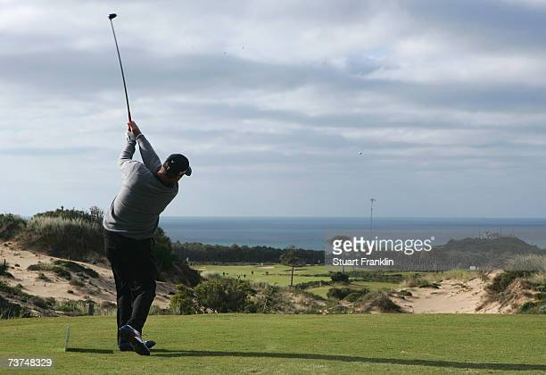 Barry Lane of England plays his tee shot on the 11th hole during the second round of The Estoril Open de Portugal at The Quinta da Marinha Golf...