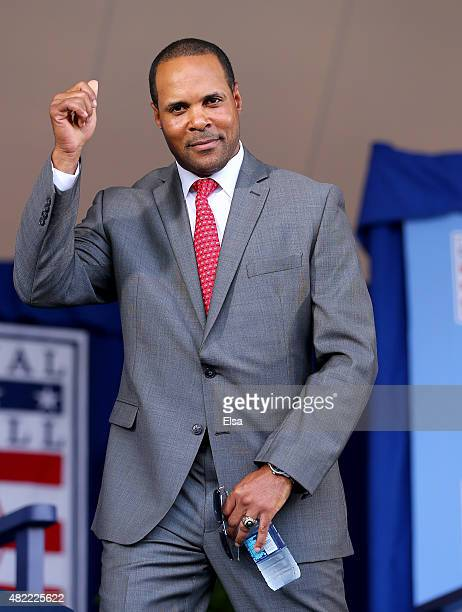 Barry Larkin attends the Hall of Fame Induction Ceremony at National Baseball Hall of Fame on July 26 2015 in Cooperstown New York Craig BiggioPedro...