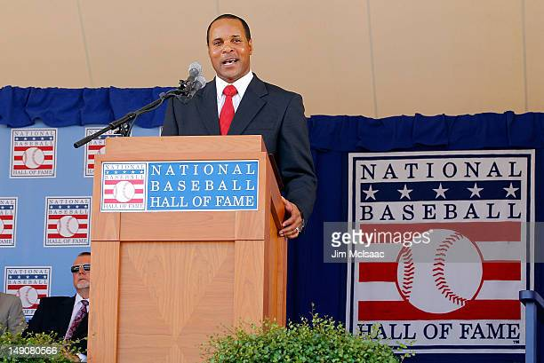 Barry Larkin gives his speech at Clark Sports Center during the Baseball Hall of Fame induction ceremony on July 22 2012 in Cooperstown New York...