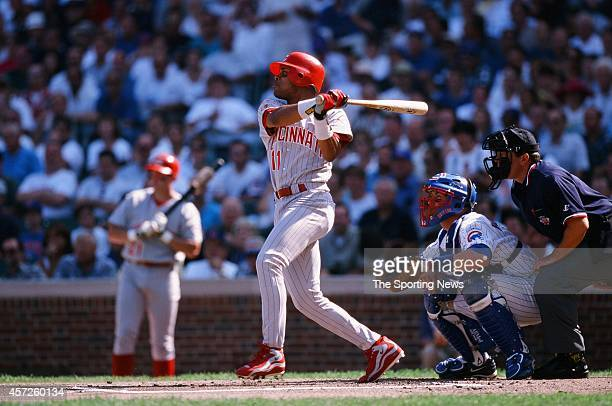Barry Larkin of the Cincinnati Reds bats against the Chicago Cubs at Wrigley Field on September 18 1998 in Chicago Illinois