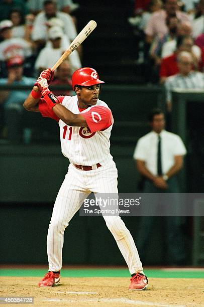 Barry Larkin of the Cincinnati Reds bats against the Florida Marlins at Cinergy Field in Cincinnatti Ohio on July 19 1994 The Reds defeated the...