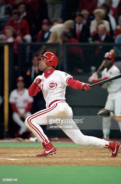 Barry Larkin of the Cincinnati Reds bats against the Oakland Athletics during Game one of the 1990 World Series at Riverfront Stadium on October 16...