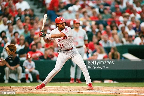 Barry Larkin of the Cincinnati Reds bats against the St Louis Cardinals at Busch Stadium on July 14 1998 in St Louis Missouri