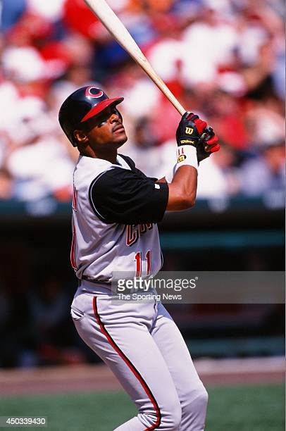 Barry Larkin of the Cincinnati Reds bats against the St Louis Cardinals during the game at Busch Stadium on April 10 1999 in St Louis Missouri The...