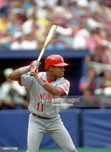 Barry Larkin of the Cincinnati Reds bats during a Major League Baseball game against the Pittsburgh Pirates at Three Rivers Stadium in 1994 in...