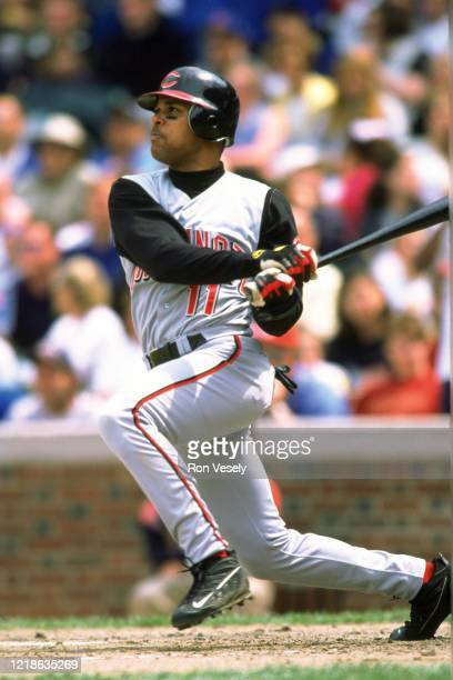 Barry Larkin of the Cincinnati Reds bats during an MLB game at Wrigley Field in Chicago Illinois Larkin played for 19 years all with Cincinnati Reds...