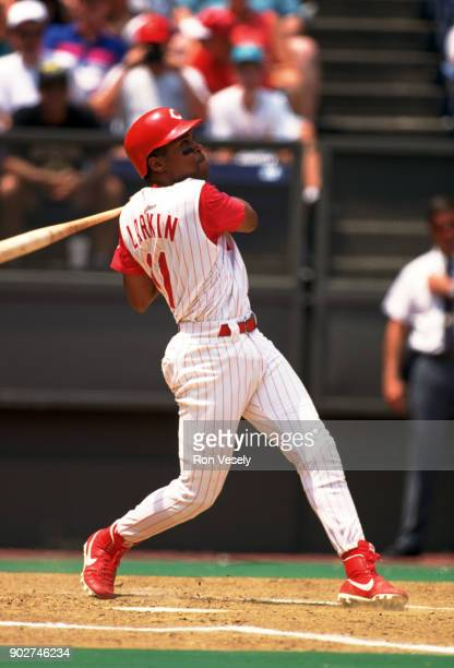 Barry Larkin of the Cincinnati Reds bats during an MLB game at Riverfront Stadium in Cincinnati Ohio during the 1994 season