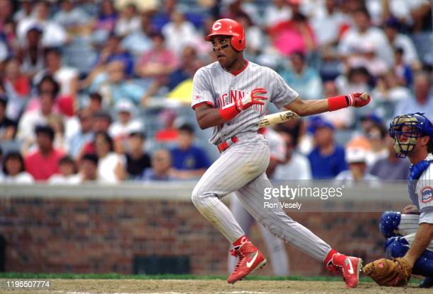 Barry Larkin of the Cincinnati Reds bats during an MLB game versus the Chicago Cubs at Wrigley Field in Chicago Illinois during the 1993 season