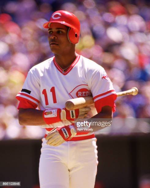 Barry Larkin of the Cincinnati Reds bats in an MLB game at Riverfront Stadium in Cincinnati Ohio during the 1987 season