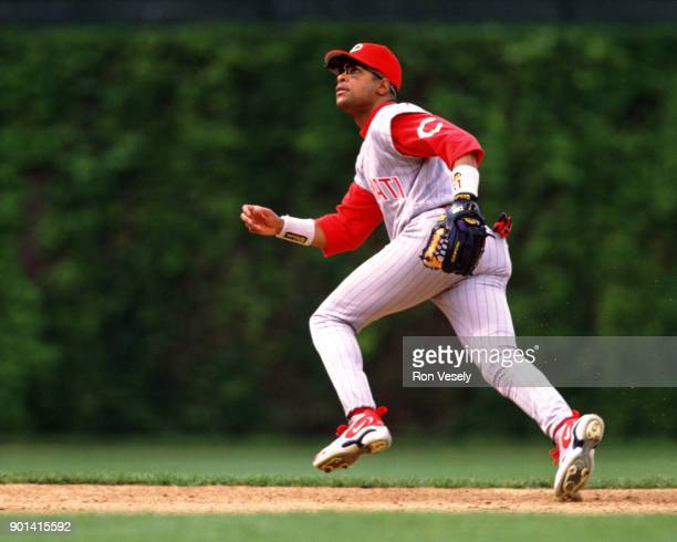 Barry Larkin of the Cincinnati Reds fields during an MLB game against the Chicago Cubs at Wrigley Field in Chicago Illinois during the 1997 season