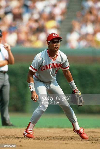 Barry Larkin of the Cincinnati Reds in action against the Chicago Cubs during an Major League Baseball game circa 1987 at Wrigley Field in Chicago...