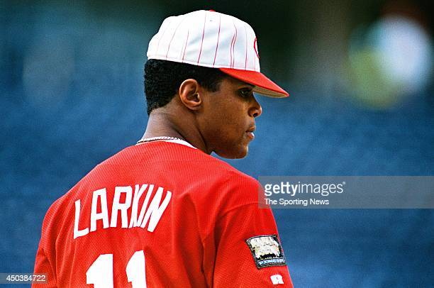 Barry Larkin of the Cincinnati Reds looks on against the Florida Marlins at Cinergy Field in Cincinnatti Ohio on July 19 1994 The Reds defeated the...