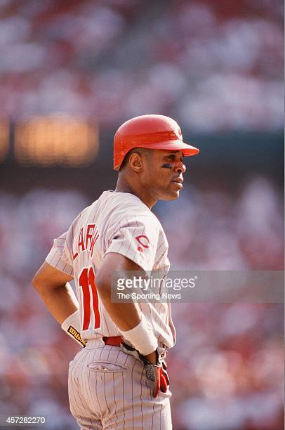 Barry Larkin of the Cincinnati Reds looks on against the St Louis Cardinals at Busch Stadium on September 6 1998 in St Louis Missouri