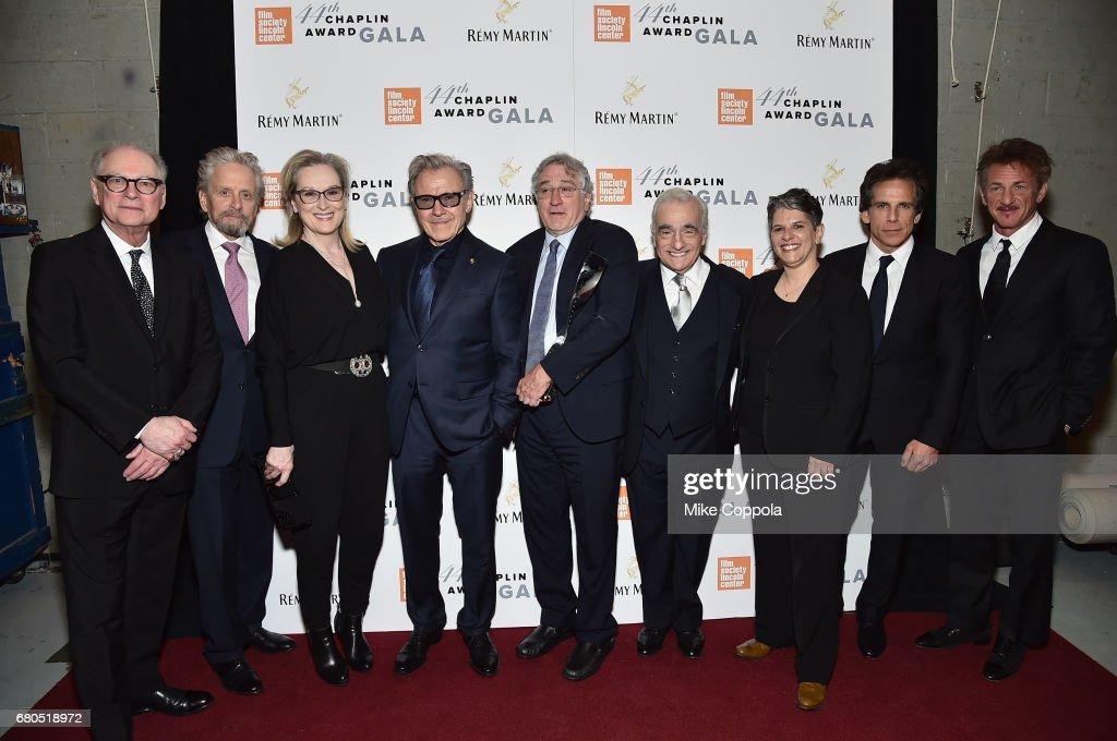 Barry Levinson, Michael Douglas, Meryl Streep, Harvey Keitel, Robert De Niro, Martin Scorsese, Lesli Klainberg, Ben Stiller, and Sean Penn pose backstage during the 44th Chaplin Award Gala at David H. Koch Theater at Lincoln Center on May 8, 2017 in New York City.
