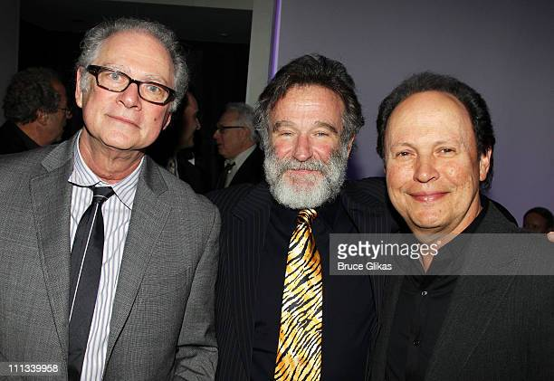 Barry Levinson Robin Williams and Billy Crystal pose at the Opening Night After Party for Bengal Tiger at the Baghdad Zoo on Broadway at Espace on...