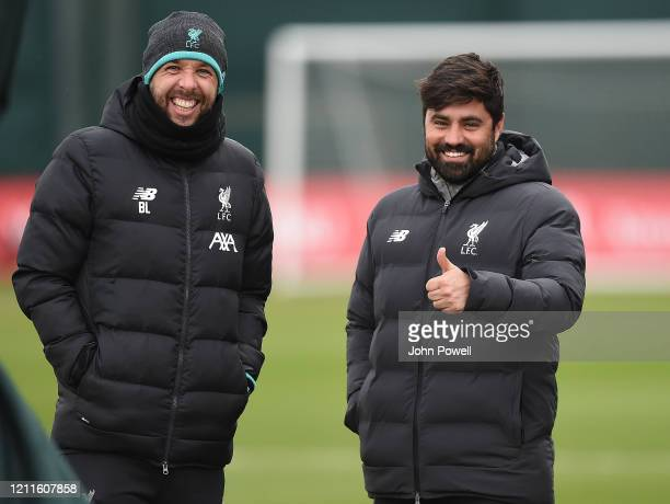 Barry Lewtas and Vitor Matos of Liverpool during a training session at Melwood on March 10 2020 in Liverpool United Kingdom Liverpool FC will face...
