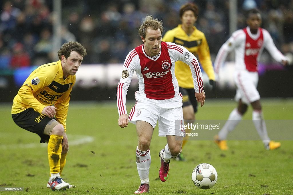 Barry Maguire of VVV-Venlo (L), Christian Eriksen of Ajax (R) during the Dutch Eredivisie match between VVV-Venlo and Ajax Amsterdam at stadium De Koel on february 3, 2013 in Venlo, The Netherlands