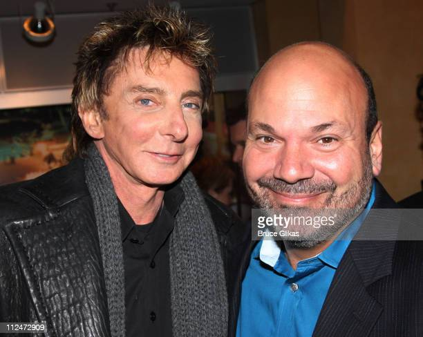 Barry Manilow and Director/Choreographer Casey Nicholaw pose during the opening night party for the world premiere of 'Minsky's' held at Ahmanson...