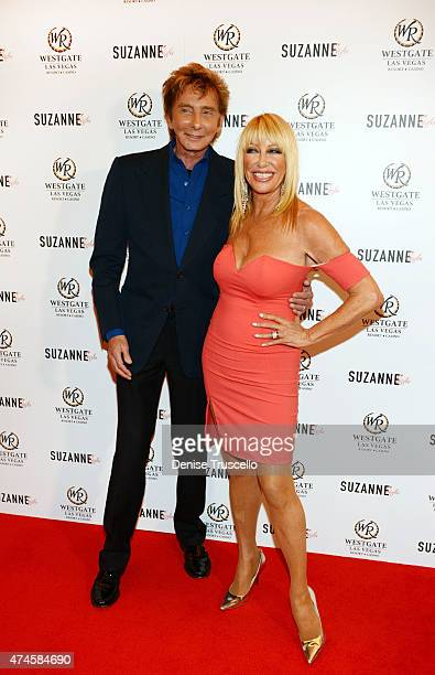 Barry Manilow and Suzanne Somers arrive at Suzanne Somers' residency show grand opening at Westgate Hotel and Casino on May 23 2015 in Las Vegas...