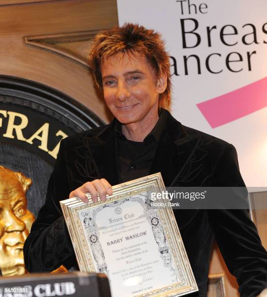 Barry Manilow attends Barry Manilow's induction as an honorary Friar at The Friars Club on February 14 2009 in New York City
