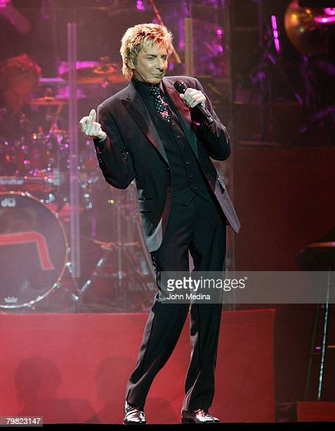 Barry Manilow performs during his Music and Passion tour at HP Pavilion on February 15 2008 in San Jose California