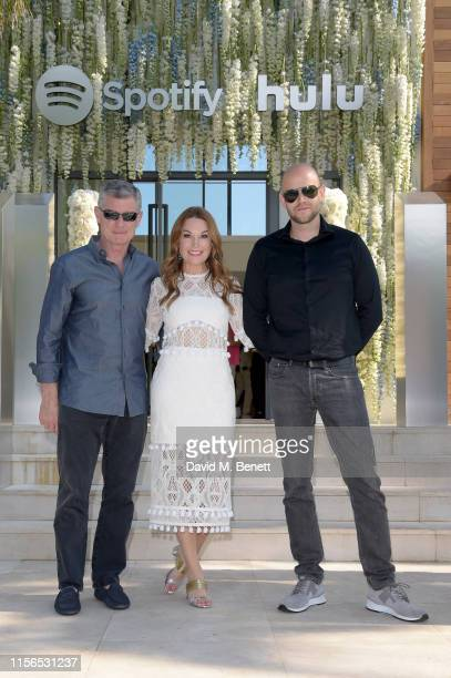 Barry McCarthy, Dustee Jenkins and Daniel Ek attends an intimate evening of music and culture hosted by Spotify and Hulu during Cannes Lions 2019 at...