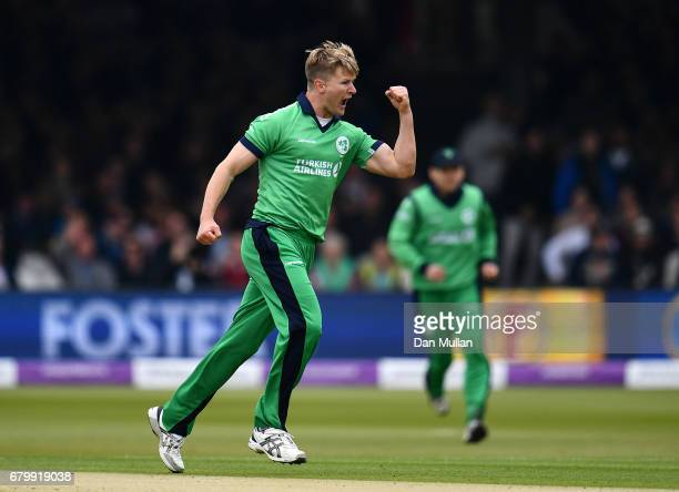 Barry McCarthy of Ireland celebrates taking the wicket of Jason Roy of England during the Royal London One Day International between England and...