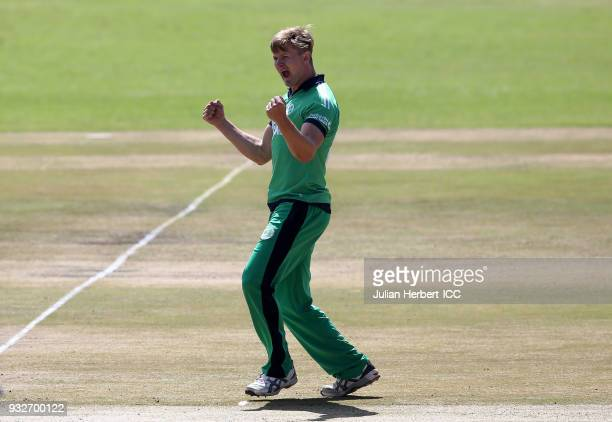 Barry McCarthy of Ireland celebrates the wicket of Cephas Zhuwao of Zimbabwe during The ICC Cricket World Cup Qualifier between Ireland and Zimbabwe...