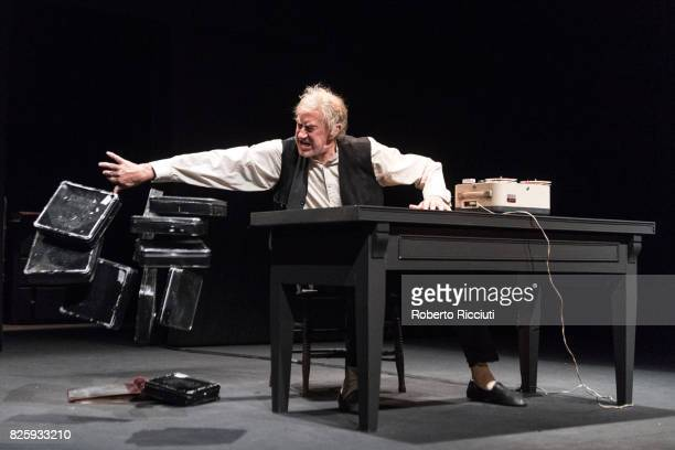 Barry McGovern performs on stage 'Krapp's Last Tape' at Church Hill Theatre during a photocall for the annual Edinburgh International Festival on...