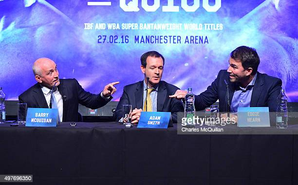 Barry McGuigan and Barry Hearn trade insults during the WBA and IBF superbantamweight world title unification prefight press conference at Europa...