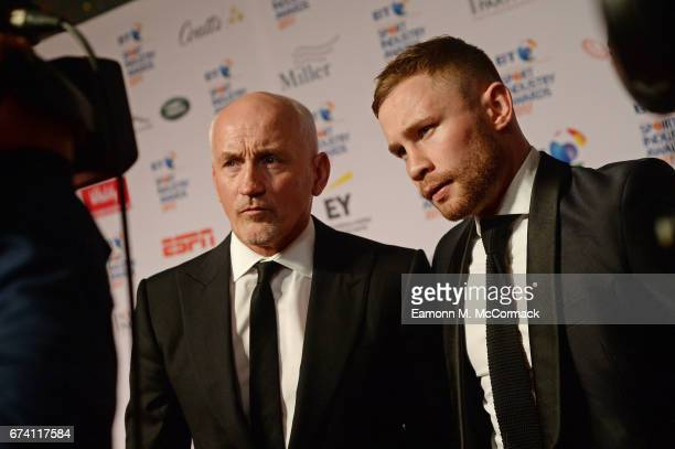 Barry McGuigan and Carl Frampton are interviewed on the red carpet during the BT Sport Industry Awards 2017 at Battersea Evolution on April 27 2017...