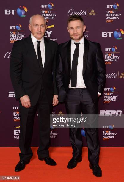 Barry McGuigan and Carl Frampton pose on the red carpet during the BT Sport Industry Awards 2017 at Battersea Evolution on April 27 2017 in London...
