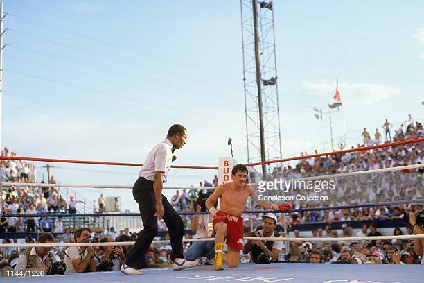Barry McGuigan boxing on June 23 1986 in Las Vegas Nevada