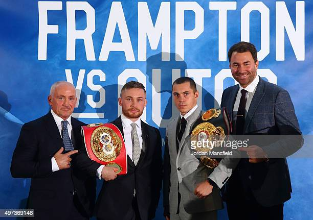 Barry McGuigan Carl Frampton Scott Quigg and Eddie Hearn pose for a photo during a press conference at the Park Plaza Riverbank on November 16 2015...