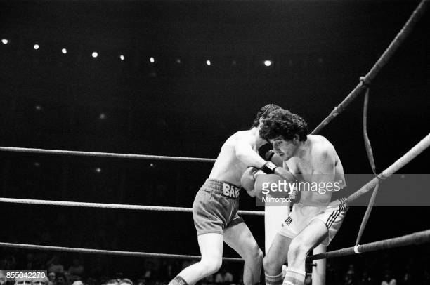 Barry McGuigan vs Esteban Eguia at the Royal Albert Hall Kensington London McGuigan defended his EBU Featherweight title Fight action 5th June 1984