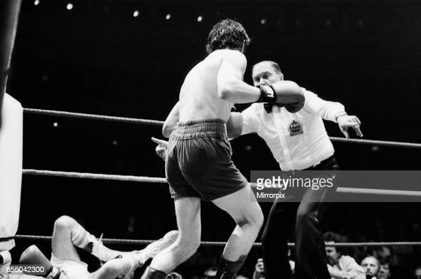Barry McGuigan vs Esteban Eguia at the Royal Albert Hall Kensington London McGuigan defended his EBU Featherweight title The referee orders McGuigan...