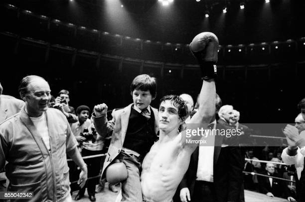 Barry McGuigan vs Esteban Eguia at the Royal Albert Hall Kensington London McGuigan defended his EBU Featherweight title McGuigan celebrates after...