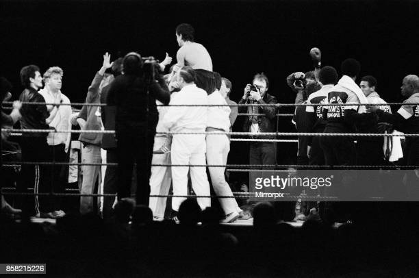 Barry McGuigan vs Eusebio Pedroza at Queens Park Rangers football stadium Loftus Road London McGuigan defeated WBA World Champion Eusebio Pedroza by...