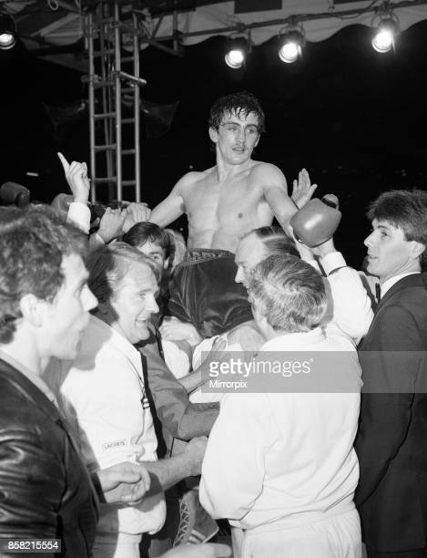 Barry McGuigan vs Eusebio Pedroza at Queens Park Rangers football stadium, Loftus Road, London. McGuigan defeated WBA World Champion Eusebio Pedroza...