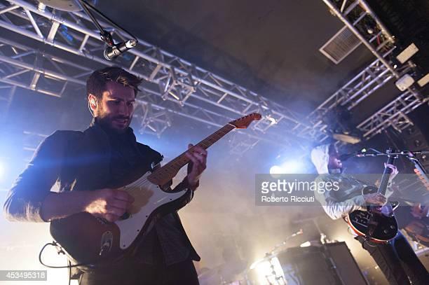 Barry McKenna and Sam McTrusty of Twin Atlantic perform on stage at The Liquid Room on August 11, 2014 in Edinburgh, United Kingdom.