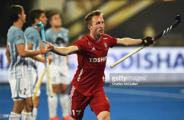 Barry Middleton of England celebrates after scoring his team's first goal during the FIH Men's Hockey World Cup quarter final match between Argentina...