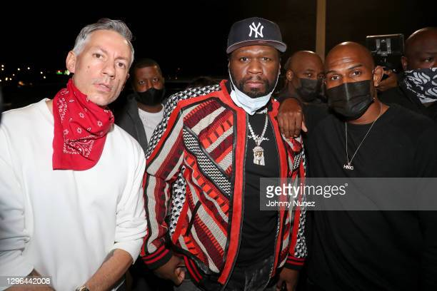 Barry Mullineaux and 50 Cent attend Barry Mullineaux's birthday party hosted by 50 Cent on January 14, 2021 in Miami, Florida.