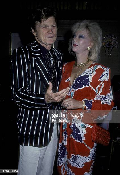 Barry Nelson and Monique van Vooren attend Barry Nelson Party on July 29, 1986 at Capriccio Restaurant in New York City.